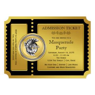 Negro del boleto y fiesta de oro de la mascarada invitación 12,7 x 17,8 cm