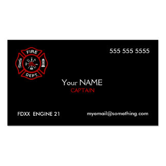 Negro del bombero tarjetas de visita
