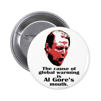 Negro del calentamiento del planeta de Al Gore Pin Redondo De 2 Pulgadas