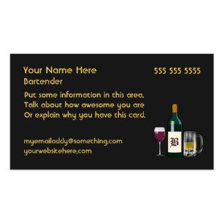 Negro del camarero tarjetas de visita