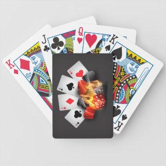 Negro del casino del póker de la llama cartas de juego