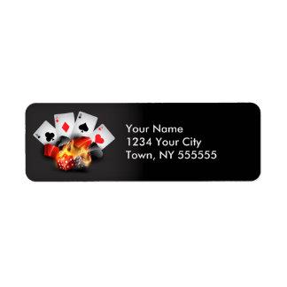 Negro del casino del póker de la llama etiqueta de remitente