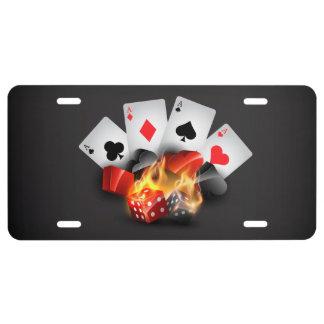 Negro del casino del póker de la llama placa de matrícula