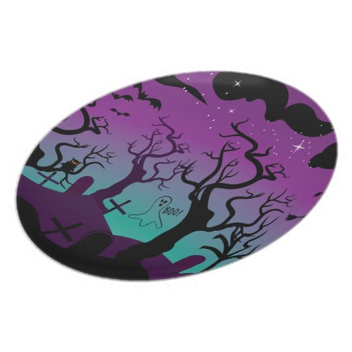 Negro del cementerio, púrpura, turquesa Halloween Plato De Comida