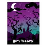 Negro del cementerio, púrpura, turquesa Halloween Postal
