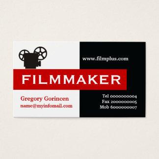 Negro del cineasta, blanco, rojo llamativo tarjetas de visita