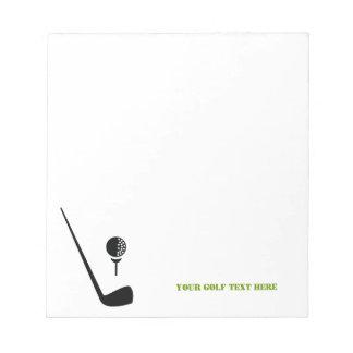 Negro del club de golf y de la bola personalizado bloc de papel