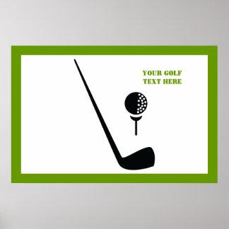 Negro del club de golf y de la bola, personalizado póster