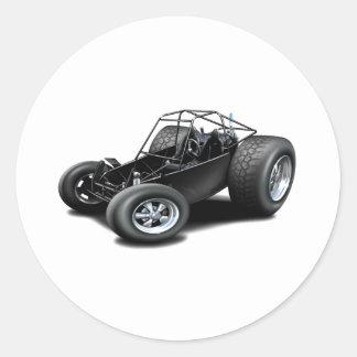 Negro del coche de playa pegatina redonda