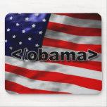 Negro del código de Obama del extremo en blanco Tapetes De Ratones
