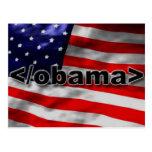 Negro del código de Obama del extremo en blanco Postal