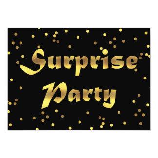 """Negro del confeti de la hoja de oro del cumpleaños invitación 5"""" x 7"""""""