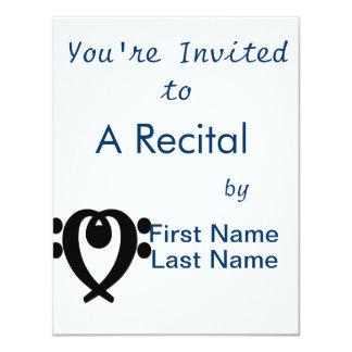 """Negro del corazón del clef bajo invitación 4.25"""" x 5.5"""""""