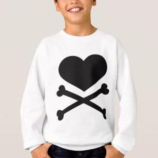 negro del corazón y de la bandera pirata sudadera