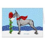 Negro del correo del navidad de great dane tarjetas