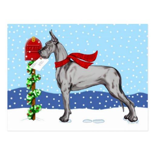 Negro del correo del navidad de great dane postales