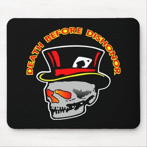 Negro del cráneo de la deshonra de la muerte alfombrillas de ratones