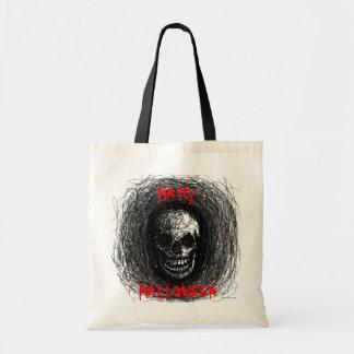 Negro del cráneo del bolso del feliz Halloween Bolsa Tela Barata