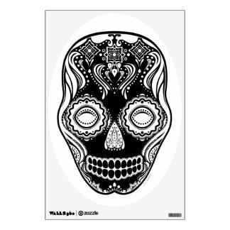 Negro del cráneo del chica de Dia de los Muertos T Vinilo Adhesivo