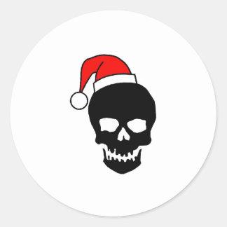 Negro del cráneo del navidad pegatina redonda