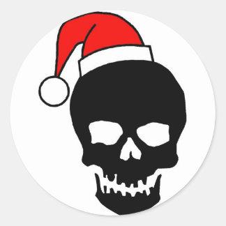 Negro del cráneo del navidad pegatinas