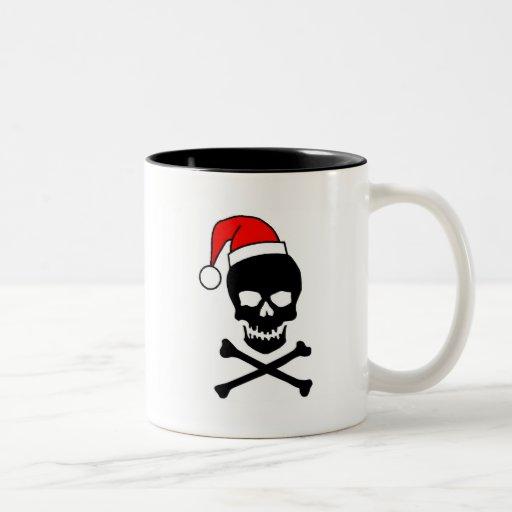 Negro del cráneo del navidad taza