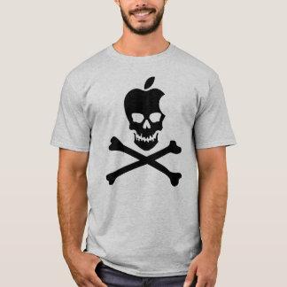 NEGRO del cráneo y de la bandera pirata de Apple Playera