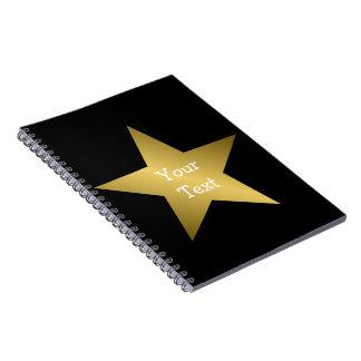 Negro del cuaderno de la estrella del oro