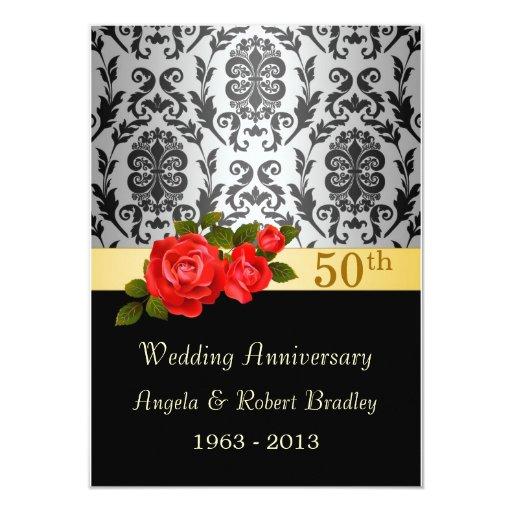 Negro del damasco, aniversario de boda del rosa invitación 11,4 x 15,8 cm