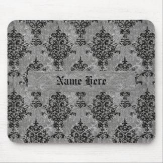 Negro del damasco en falsa piedra gris mouse pads
