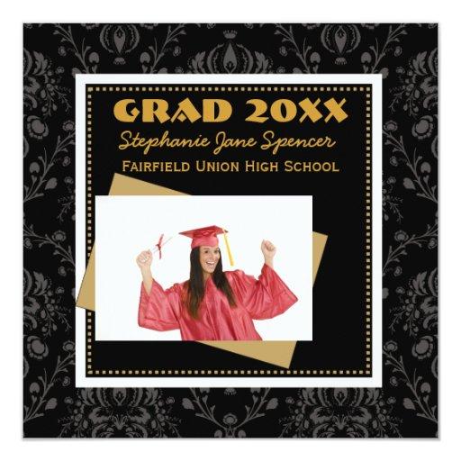 Negro del damasco y invitación de la graduación invitación 13,3 cm x 13,3cm