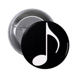 negro del ~ de la nota musical pin redondo de 2 pulgadas