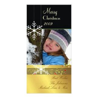 Negro del ~ de los copos de nieve, navidad dorado tarjetas personales con fotos