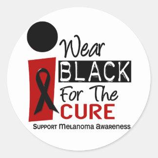 Negro del desgaste del melanoma I para la curación Pegatina Redonda