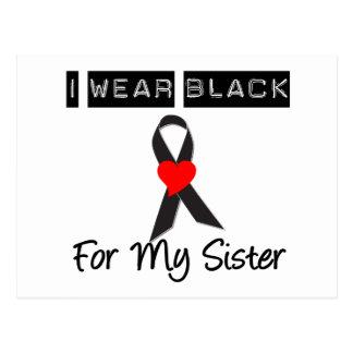 Negro del desgaste del melanoma I para mi hermana Tarjeta Postal