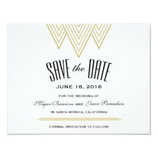 Negro del diamante del vintage y reserva del oro invitación 10,8 x 13,9 cm