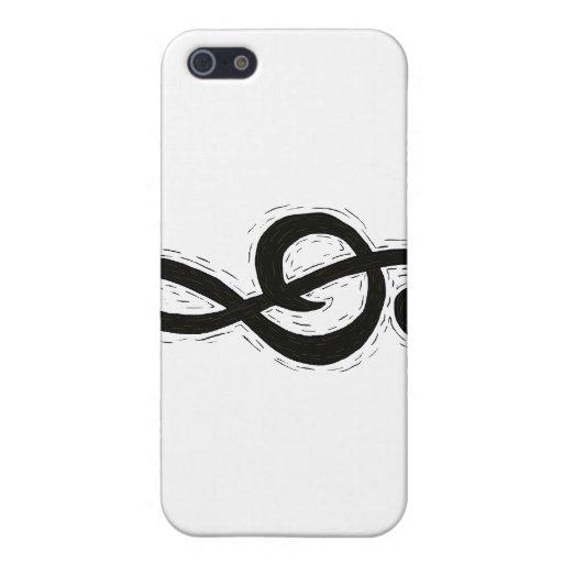 Negro del diseño gráfico del Clef agudo iPhone 5 Fundas