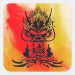 Negro del dragón del diablo calcomanía cuadrada personalizada