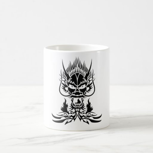 Negro del dragón del diablo tazas de café