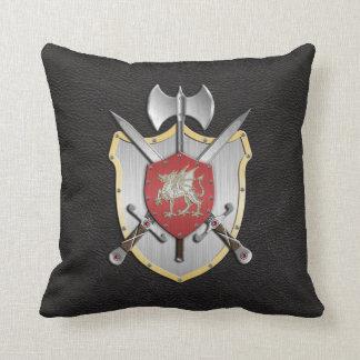 Negro del dragón del escudo de la batalla almohada