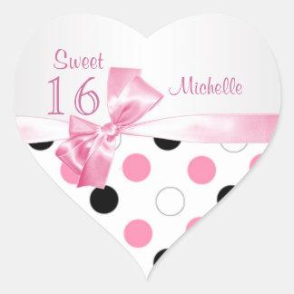 Negro del dulce 16, rosa, lunares blancos pegatina en forma de corazón
