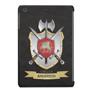 Negro del escudo de la batalla de Sigil del dragón Fundas De iPad Mini