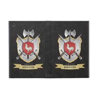 Negro del escudo de la batalla de Sigil del gallo iPad Mini Fundas
