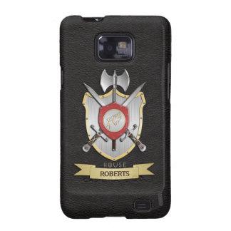 Negro del escudo de la batalla de Sigil del lobo d Samsung Galaxy S2 Funda