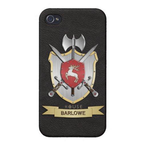 Negro del escudo de la batalla de Sigil del macho iPhone 4/4S Carcasa