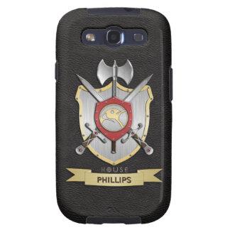 Negro del escudo de la batalla de Sigil del pingüi Galaxy S3 Cárcasas