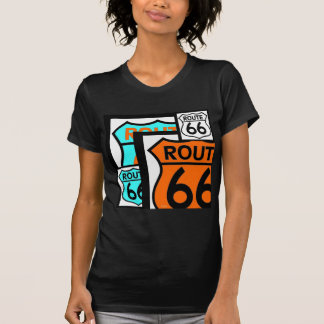 Negro del escudo de la mezcla de la ruta 66 camisetas
