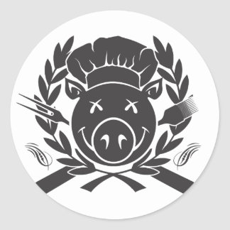 Negro del escudo del Bbq Pegatina Redonda