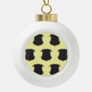 Negro del escudo del escudo amarillo claro adorno de cerámica en forma de bola