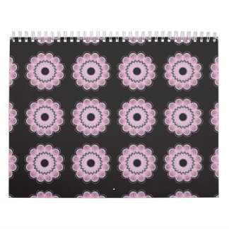 Negro del estampado de plores calendarios de pared